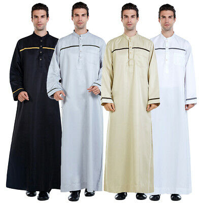 Mens Thobe Jubba Saudi Arab Robe Dishdash Islamic Kaftan Omani Abaya Dress Thoub