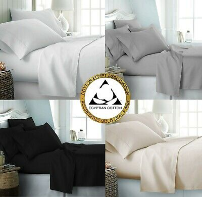 100% Egyptian Cotton 500 Thread Count Duvet Cover Set / Fitted Sheet Bedding