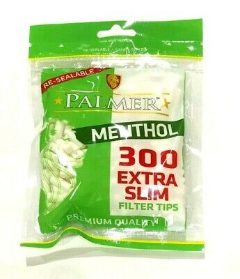 2 x 300 PALMER  EXTRA SLIM MENTHOL Cigarette Filter Tips 600 TIPS Resealable
