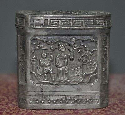 Old Chinese dynasty Tibetan silver ancient Men Belle flower Storage Box Boxes