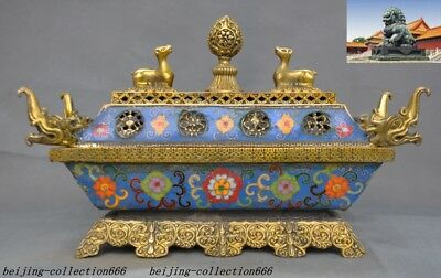 bronze Cloisonne enamel eight treasures Dragon beast Pair Incense Burner censer
