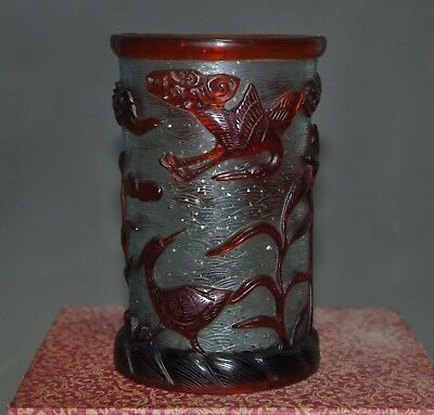 Old Chinese dynasty glass Hand carved lotus Crane Brush pot pencil vase statue