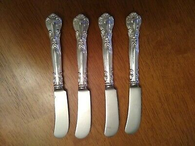 Four 4 Vintage Gorham Sterling Silver Butter Smaller Knives Chantilly