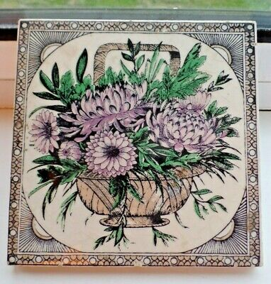 Antique Victorian Ceramic Floral Tile Teapot Stand or Trivel