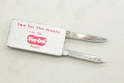 "Vintage Play Doh Money Clip Pocket Knife Two For The Money ~2"" - B191"