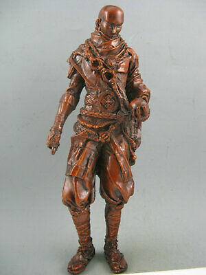 """8"""" Antique Japanese old boxwood hand carved kungfu warrior big statue home deco"""