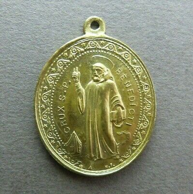 French Antique Brass Religious Pendant Saint Benedict Exorcism Medal
