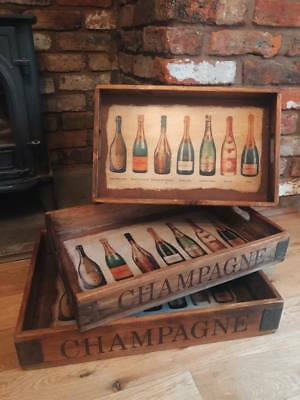 Vintage / Rustic Style Solid Wood Hand-made Champagne Butler Tray with handles.