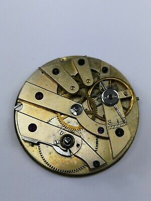 Swiss C Lannier Cylinder Pocket Watch Movement With Gold Coloured Dial (A40)