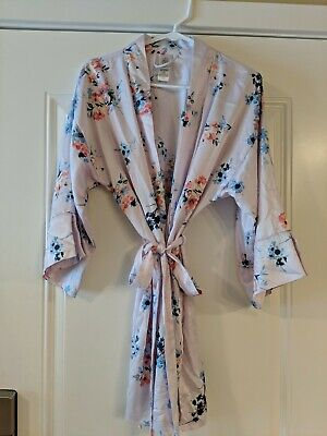 In Bloom by Jonquil Matte Satin Aqua Floral Print Short Wrap Robe XS/S