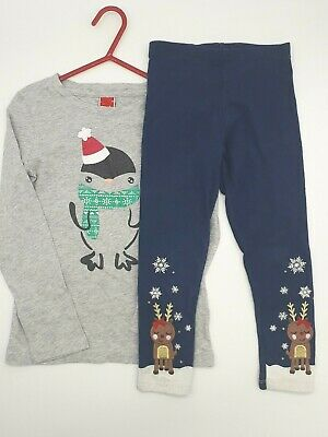 Baby Girl Clothes 4-5 Years Outfit F&F Grey Long Sleeve Xmas Top Navy Leggings
