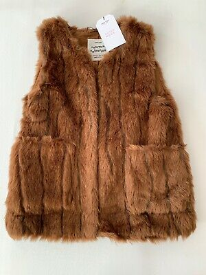 New Zara Girls Outerwear Collection Faux Fur Vest Brown Kids size 10 pockets