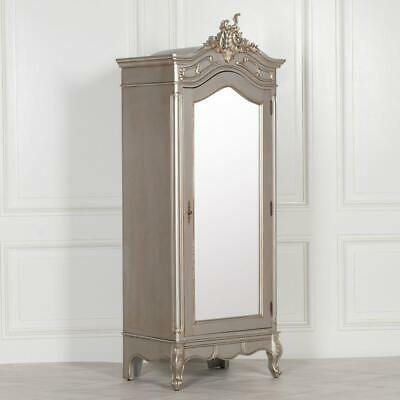 French Style Carved Silver Single Full Mirrored Door Armoire