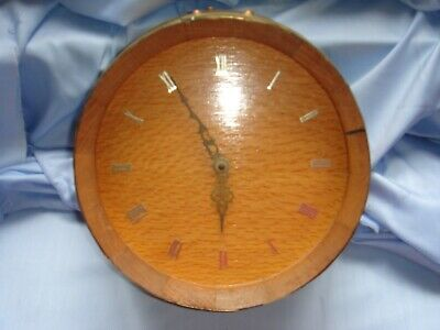 antique vintage wall clock made from golden oak barrel working chimes retro