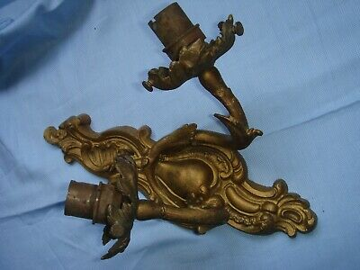 vintage antique gold coloured ? brass wall light double asymmetrical ornate