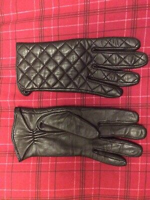Leather Gloves Brown Ladies Quilted Soft Fully Lined New