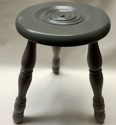 Vintage French Grey Turned Wood 3 Leg Wooden Milking Stool With Round Seat