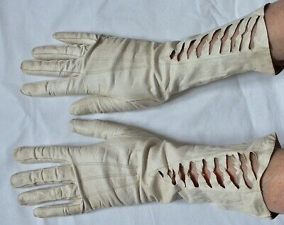 RARE Open pattern Mid Length Vintage LEATHER GLOVES.
