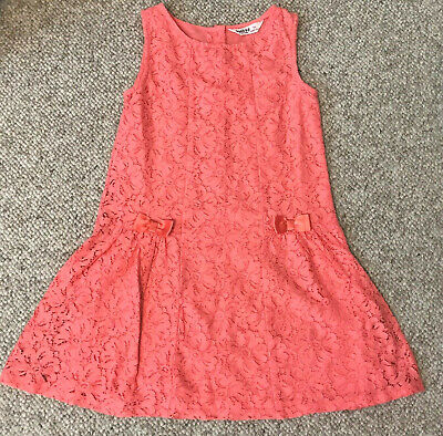 Beebay Coral Orange Red Salmon Pink Floral Flower Lace Bow A line Dress Girls 7