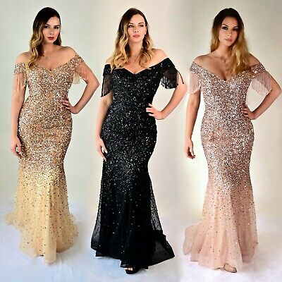 Womens Off Shoulder Mermaid Dress Embellished Formal Evening Fishtail Maxi Gown