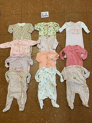 Girls Clothes Bundle Age 0-3 Months Sleepsuits
