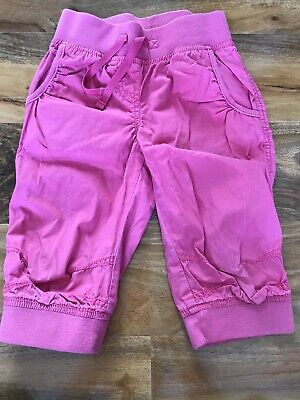 Girls NEXT Pink Cotton Cropped Summer Trousers 6 Years