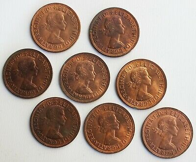 8 Coin Lot 1965 Great Britain Half Penny Coins 1/2 C UK Pennies Bronze Coins
