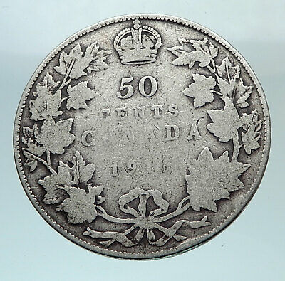 1916 CANADA UK King George V Genuine Antique SILVER 50 CENTS Coin i80808