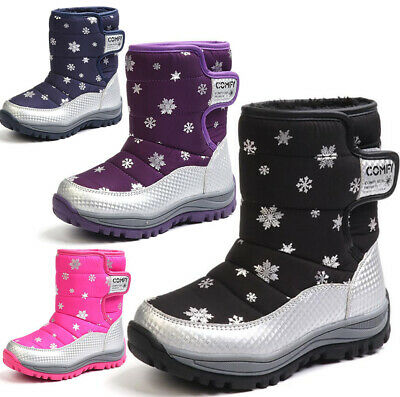 Kids Boys Girls Warm Thermal Fur Winter Ski Snow Boots Mucker Wellies Shoes New