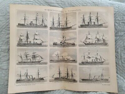 War Ships - Antique Book Page - c.1885 - German Text