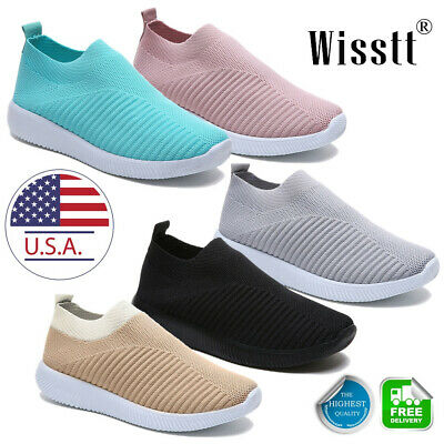 Women's Sports Air Cushion Sneakers Mesh Walking Slip-On Running Gym Shoes Size