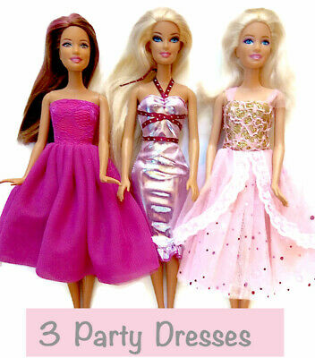 New barbie doll clothes outfit clothing set of 3 party dresses evening dress