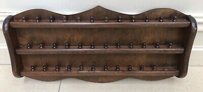Thimble Display Rack - Holds 36 Thimbles - Lovely Dark Timber In Ex Condition