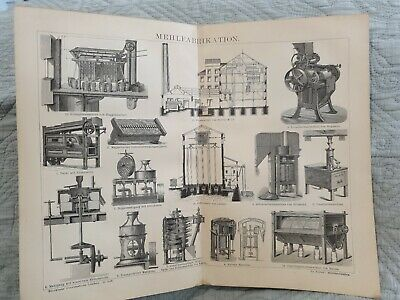 Flour Milling - Antique Book Page - c.1885 - German Text