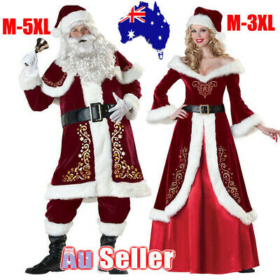 Christmas Mr & Mrs Santa Claus Costume Fancy Dress Adult Suits Cosplay Outfits