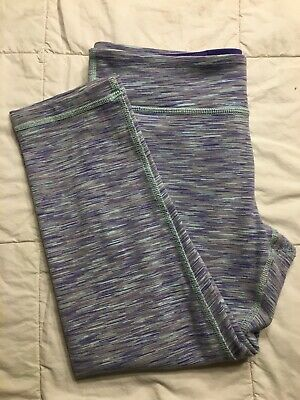 Ivivva by Lululemon Girls Leggings Size 14 Purple/Grey/Light Blue Space Dye
