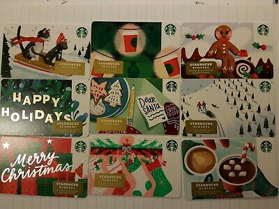 Nine New Starbucks 2019 Holiday Gift Cards.  PINs intact