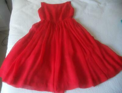 Vintage 50'S Tilly Model Red Silk Chiffon Full Skirt Strappy Back Party Dress S