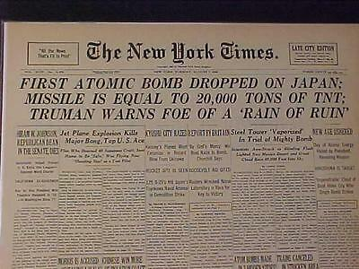 Vintage Newspaper Headline Ny ~World War First Atomic Bomb Dropped On Japan Wwii