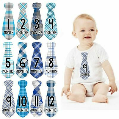 Tie Newborn Photo Props Shower Birthday Party Baby Monthly Stickers Boy Girl