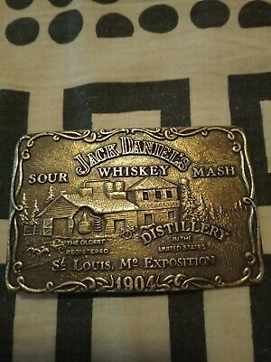 Jack Daniels belt buckle,1970's brass plated used condition,missing clasp