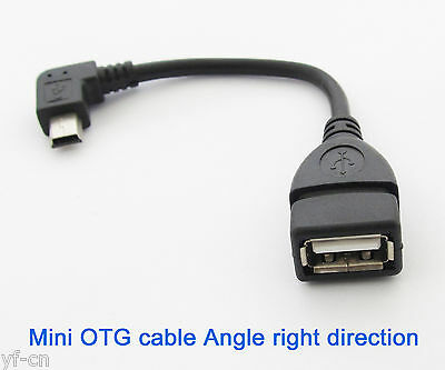 100x Right Angle 90D Host OTG Adapter Cable Mini 5pin USB male to USB 2.0 Female