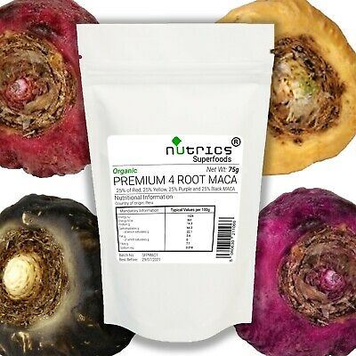 Nutrics® Organic PREMIUM 4 ROOT MACA Powder 75g Black Red Purple Yellow