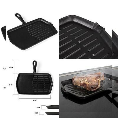 34 x 30.5 x 2 cm Diameter Gas and Charcoal Grills Rustler Cast Iron Grill Pan with Handle and Enamel Coating Campfire Oven and Stove Suitable for Barbecue