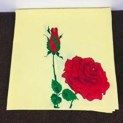 """Vintage Artex Tablecloth Floral Painted Square 44 x 44"""" Tag Yellow Red Roses"""