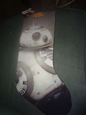"""Disney Star Wars BB-8 Droid Christmas Holiday Stocking - 19"""" Quilted - NWT"""