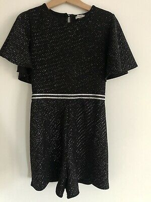 River Island girls black And Silver glitter Jumpsuit Playsuit Age 7-8