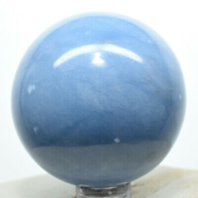 """2"""" Peruvian Blue Angelite Sphere Natural Mineral Sparkling Angelic Crystal Stone"""