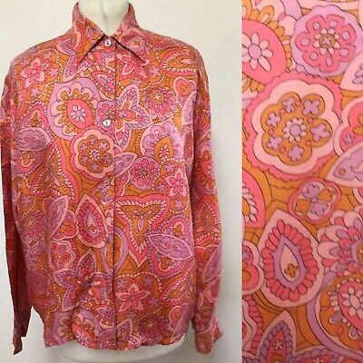 Vintage 60s Large Blouse Psychedelic Paisley Retro Needs Repair
