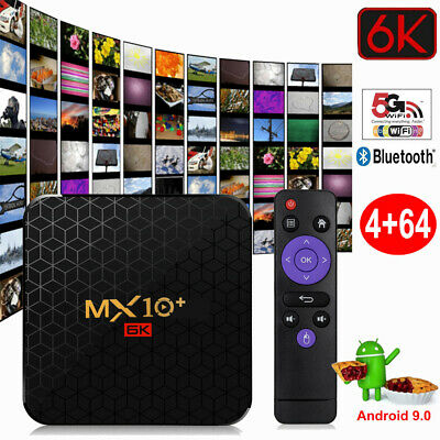 6K MX10 Plus Smart TV Android 9.0 4Go/64Go 2.4G/5G WiFi 100M LAN Media Player